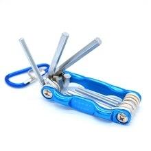 цена на 8Pcs Portable Folding Wrench Set Metric System Inner Hexagon Spanner Wrench Screw Repair Tools Metric System Hex Socket Bolt