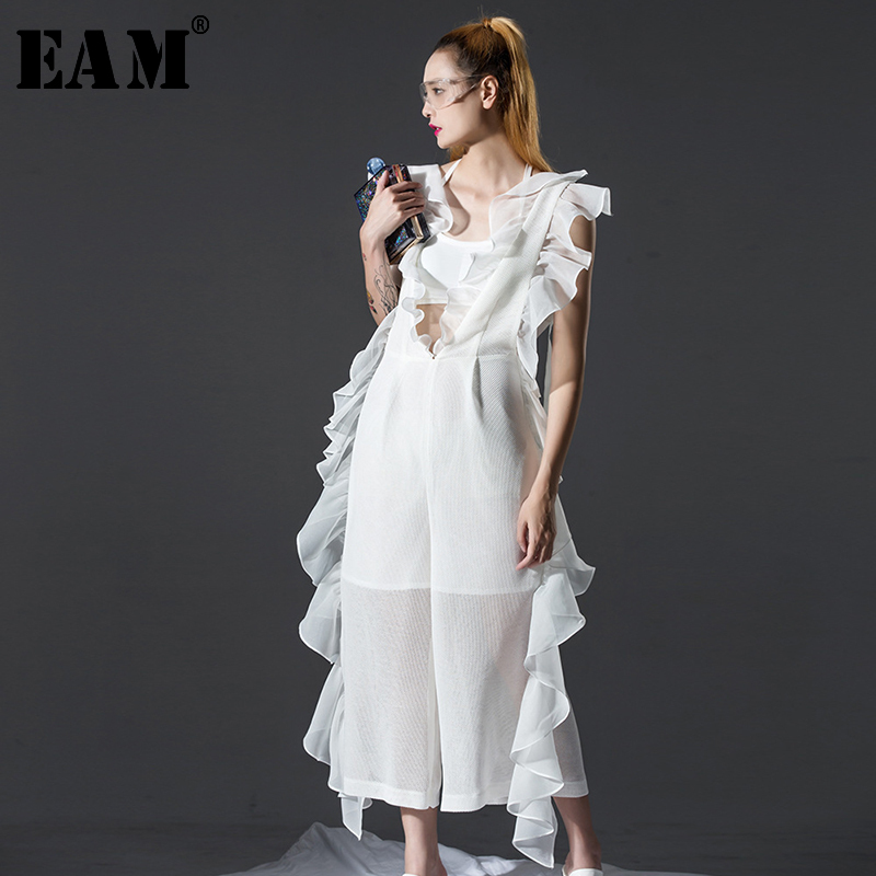 [EAM] 2019 New Spring V-collar Sleevless White Loose Ruffles Stitching Loose Long Sexy   Jumpsuits   Women Fashion AZU123
