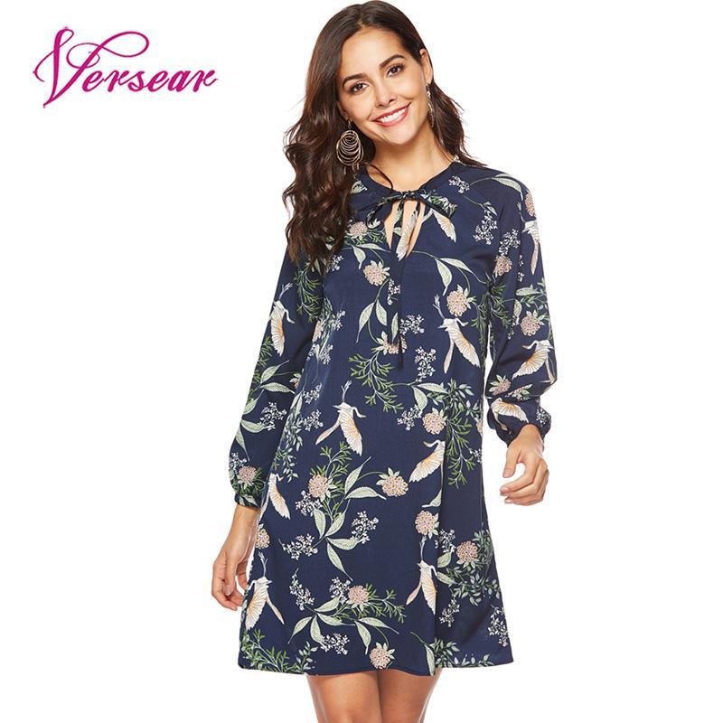 Versear Women Floral Mini Chiffon Dress Bow Tie Bandage Long Sleeve Women's Dresses 2019 New Autumn A-line Dress vestido mujer