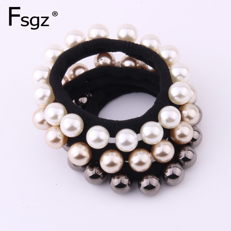 Newest Pearls Gum For Hair High Elastic Rubber Bands For Women Quality Beads Hair Rope Luxurious Solid Pearl Ponytail Holders
