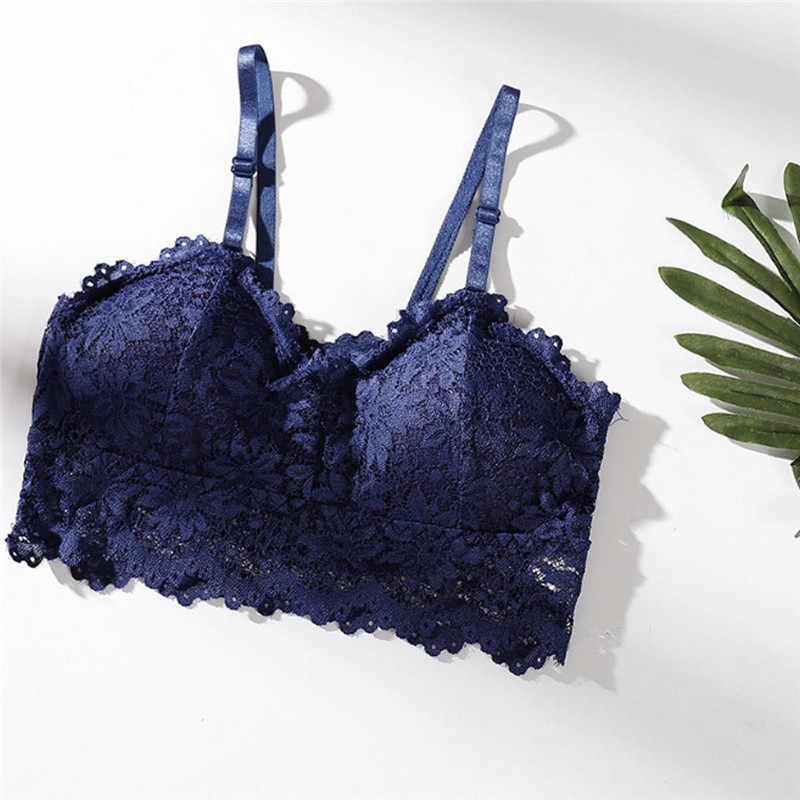 Floral Lace Halter Bralette Lined Bra No Pad Crop Top V Neck Black White Blue Wine Red