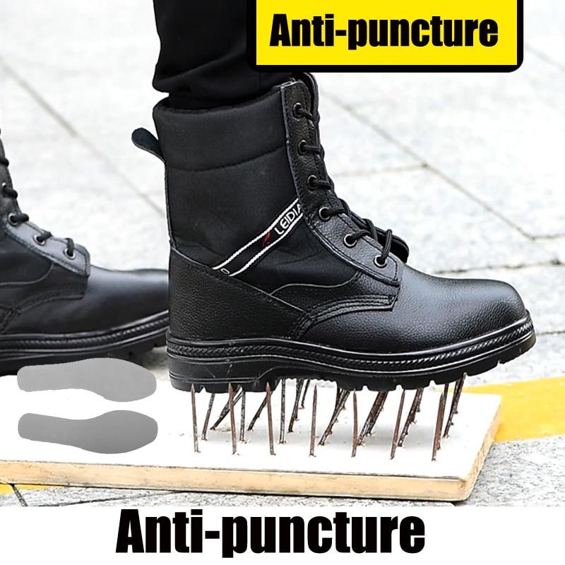 Bottes de sécurité pour hommes bottes imperméables militaires Plus velours bottes tactiques en cuir homme travail chaussures à bout en acier indestructibles