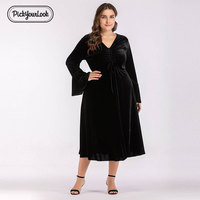229175eb4 Pickyourlook Black Women Velvet Dress Plus Size Autumn Winter Long Solid  Business Evening Party Office Dresses. Pickyourlook Preto Mulheres Vestido  ...