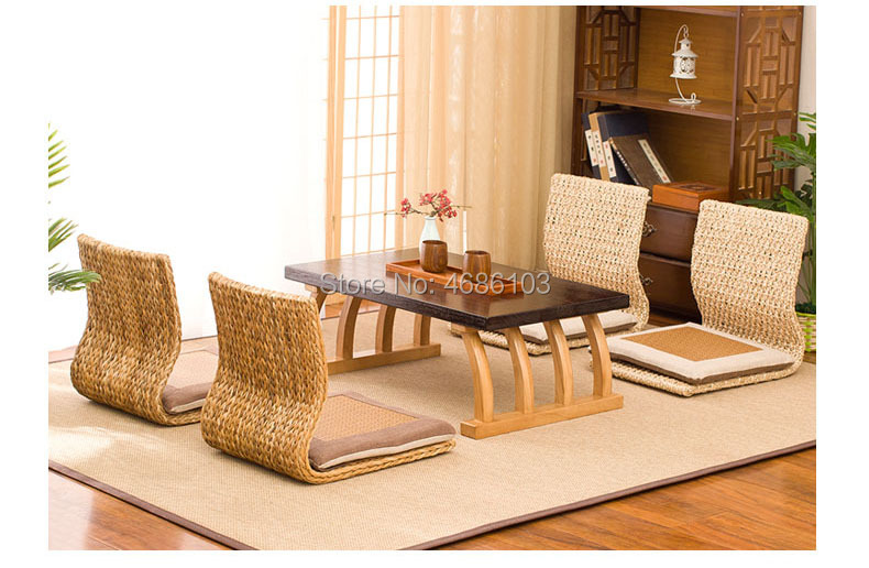 2pcs Handmade Cattail Straw Japanese Floor Legless Chair Sitting Living Room Furniture Asian Traditional Tatami Zaisu Chair
