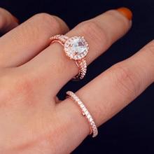 14K Multi Rose Gold Diamond Ring Set Goose Shaped Bague or Jaune Engagement Ring Anillos De Bizuterias for Women Diamond Jewelry multi shaped ring set 4pcs