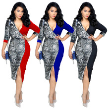 Fashion Sequin Patchwork Dress Women Sexy Deep V-Neck Bandage Dresses Plus Size 2019 Spring Women Back Zipper Slit Dress fashion v neck cutout cross back front slit dress for women