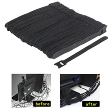 50pcs/lot Black Nylon Cable Cord Tie Strap Hook and Loop Sticky Backed Tape Winder Wire Tidy Organizer Protector