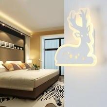 Lovely Dophin Sika Deer Led Acrylic Panel 20W Wall Lamp Children Room Living Aisle Warm White Bright Sconces Lighting