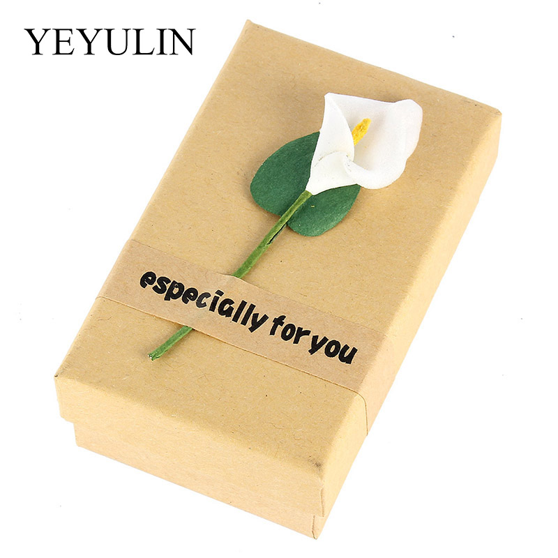 1pcs High Quality Mysterious Yellow Flower Gift Box Beloved Valentine's Day Paper Put Rings Necklace Wedding Jewelry Box Packing