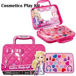 Crianças brinquedo de maquiagem fingir jogar infantil conjunto de maquiagem de segurança não-tóxico kit de maquiagem brinquedo para meninas vestir saco de viagem cosmético brinquedo de beleza