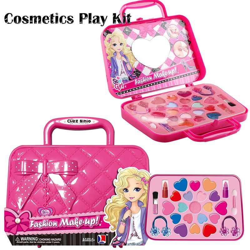Kids Makeup Toy Pretend Play Kid Makeup Set Safety Non-toxic Makeup Kit Toy For Girls Dressing Cosmetic Travel Bag Beauty Toy