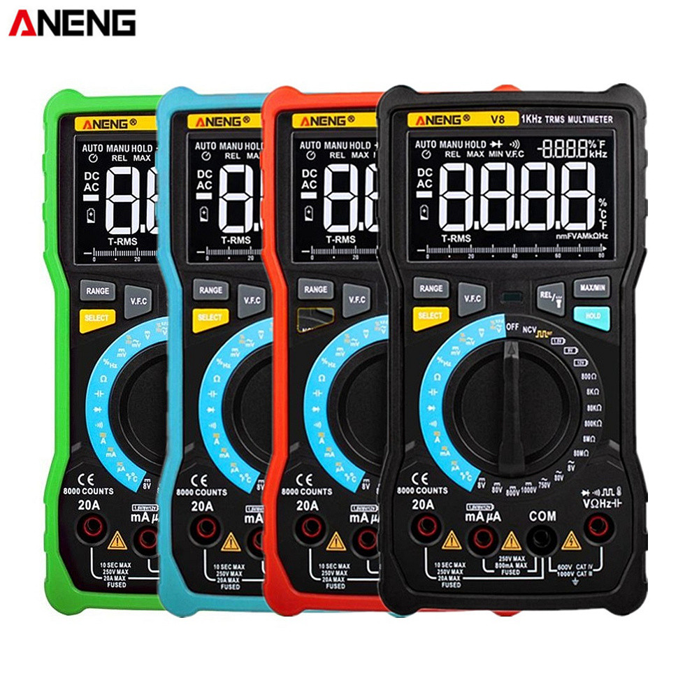 ANENG V8/V7 Dual Modus True RMS Digital-Multimeter Auto Range 8000 Zählt Display V.<font><b>F</b></font>.C <font><b>Inverter</b></font> Messung Analog Bar graph image