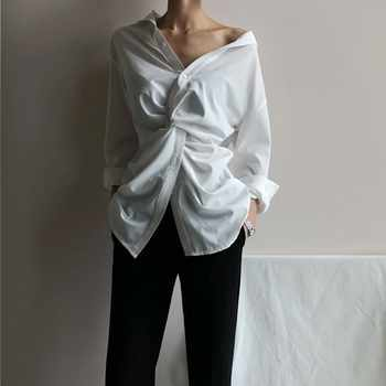 TWOTWINSTYLE Casual White Women\'s Blouse Off Shoulder V Neck Waist Cross Long Sleeve Loose Korean Top Female Clothes Spring 2019