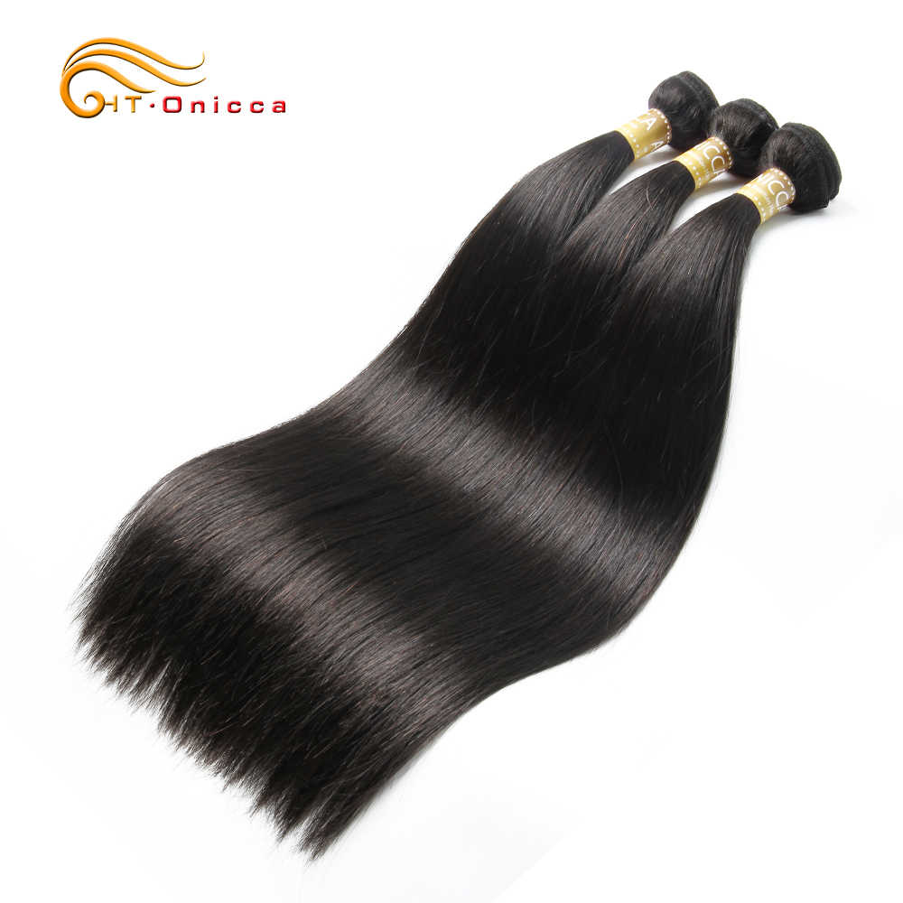 Onicca Straight Hair Bundles Peruvian Human Hair Extensions Non Remy Hair Weave 1/3/4 Bundles Deals Natural Color 8-24 Inches