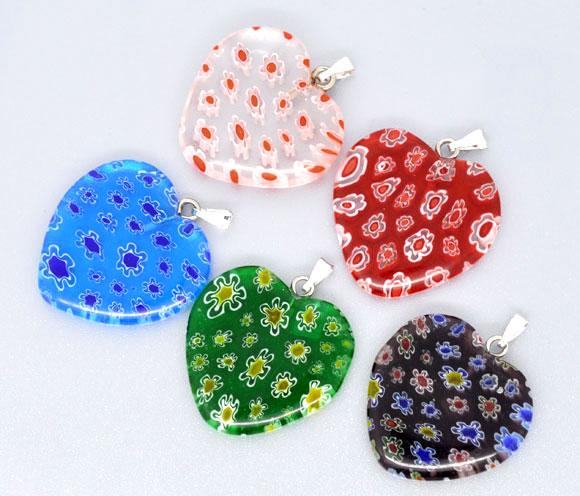 Lovely 10 Mixed Millefiori Glass Lampwork Heart Charm Pendants (B08434)(China)