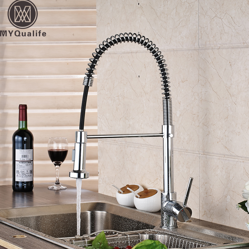 FZHLR Golden//Black//Chrome//Red Brass Kitchen Faucets with Black Rubber Design Tap Pull Down Dual Spout Kitchen Sink Tap Torneira Cozinha,Gold