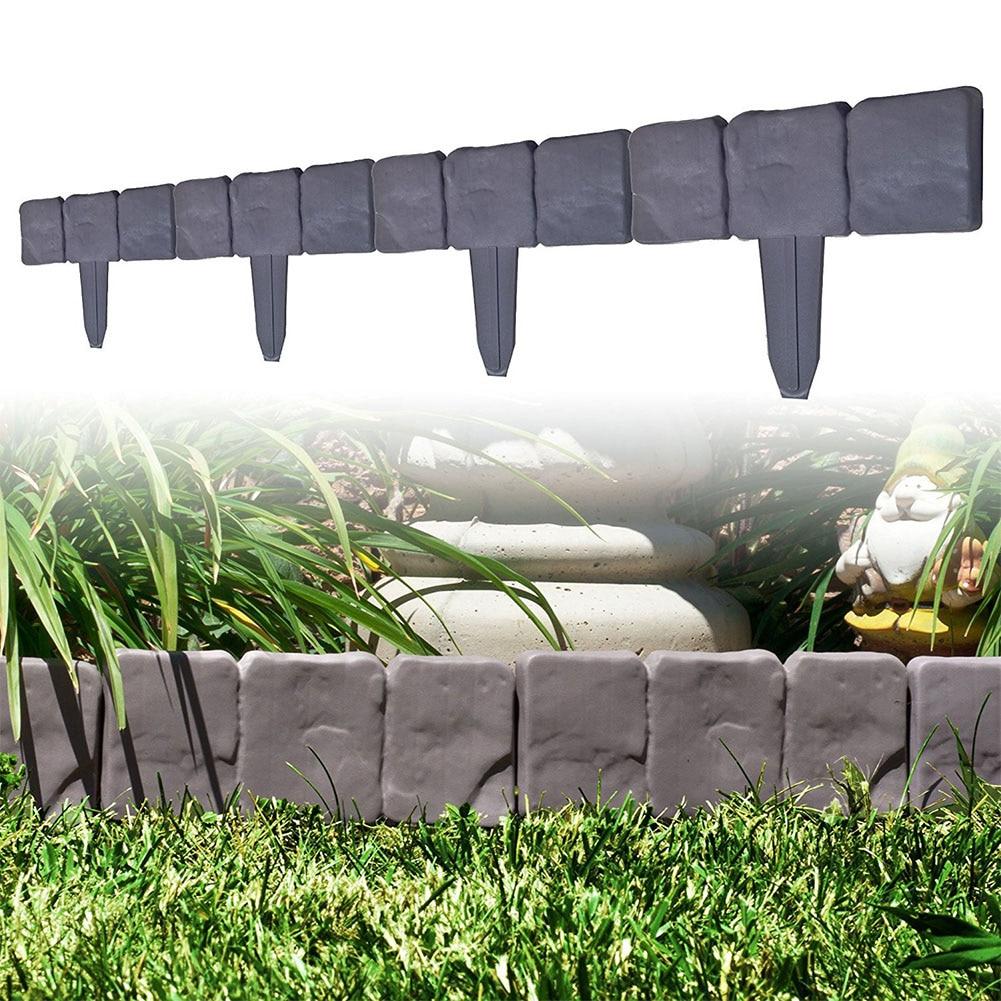 10 Stücke Dekorative Leicht Sauber Diy Rasen Hof Garten Einfassung Trellis-in Stein Wirkung Palisade Anti Korrosion Zaun Einfügen Hohe Belastbarkeit