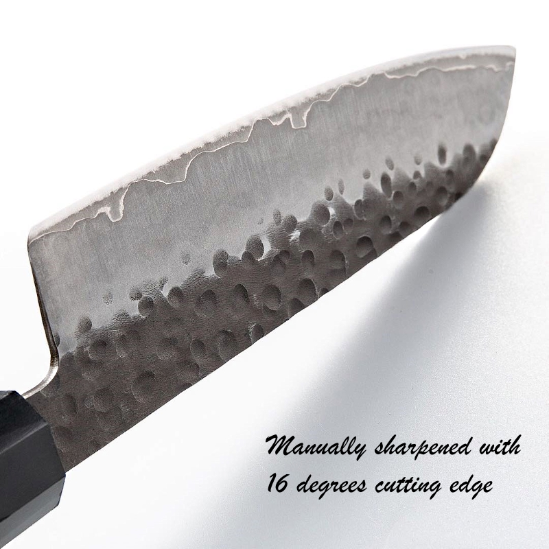 Handmade Santoku Knife 7 inch 3 Layers Japanese AUS10 High Carbon Blade Chef Kitchen Knives Professional Cooking  Slicing Tools 6