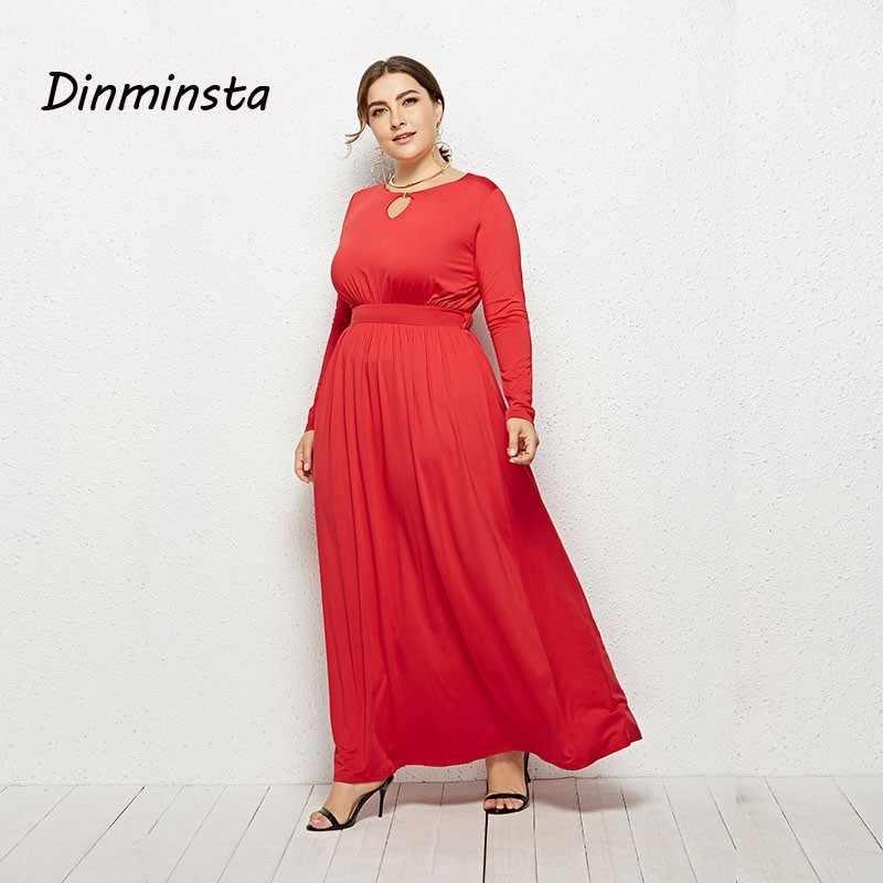09af3b2a046c7 Dinminsta Fat Female 3xl Plus Size Dresses Long Sleeve A Line Women Maxi  Dress Elegant Weedkend Frocks 2019 New Spring Vestidos