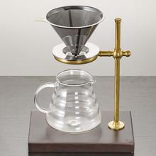 Reusable Stainless Steel Cone Coffee Dripper Double Layer Mesh Filter and High Quality Copper & Wood Stand Accessories