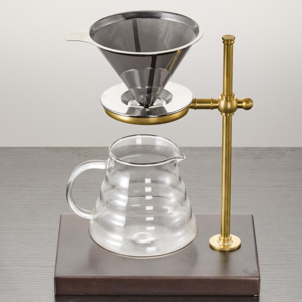 Stainless Steel Cone Coffee Dripper Double Layer Mesh Coffee Filters Copper & Wood Coffee Filter Holder Stand Coffee Accessories