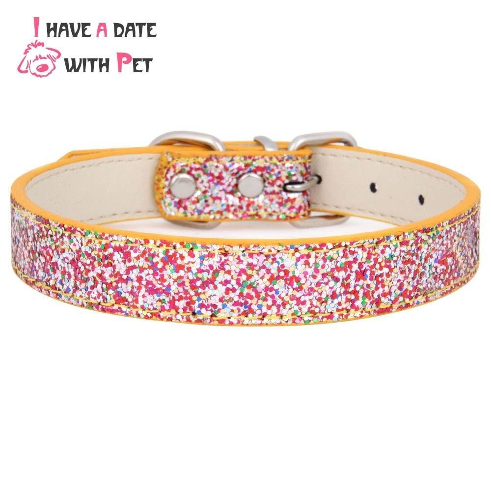 Tengo una cita con la mascota New Gold Bling Pu cuero para mascotas - Productos animales