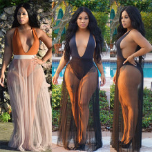 New Fashion Women Pleated Bikini Cover-Ups Swimwear Sheer Mesh Beach Long Maxi Wrap Skirt Pareo Sundress Sexy