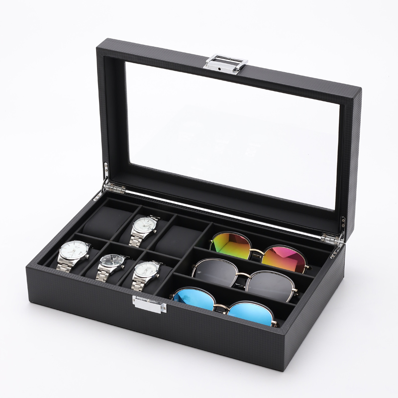 New PU Leather 6 Watch Grids 3 Sunglasses Storage Case Jewelry Display Box Carbon Fiber Leather Watch Display Box