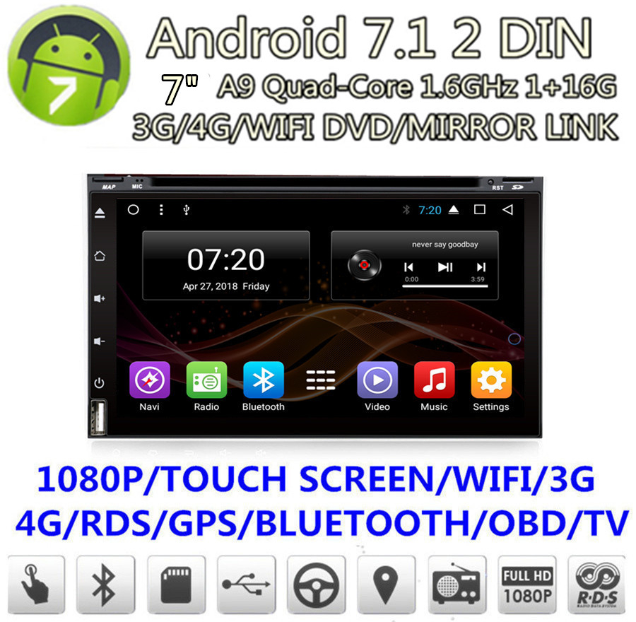 7 2Din Car radio GPS navigation Android Touch Screen 4Core 1G RAM +16G ROM Car Stereo Wifi DVD 4G BT DAB DTV Mirror Link OBD