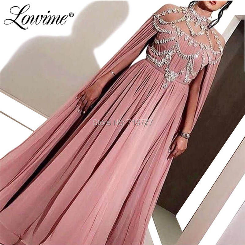 Beaded Crystals Muslim   Evening     Dresses   Pink Arabic Dubai Turkish Formal Party   Dress   2019 Couture Kaftans Long Prom Gowns