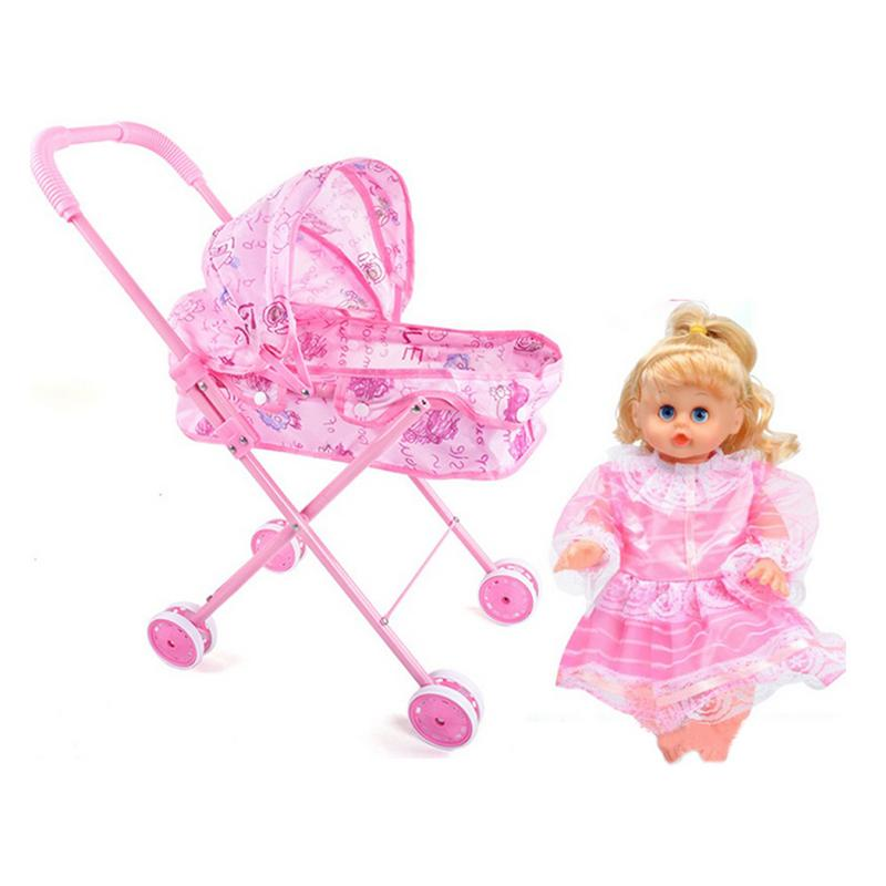 Trolley Pink Baby Stroller Foldable Pushchair Nursery Cart Bag Girls Toy Dolls Accesoires Furniture Toy Baby Birthday Kids GiftsTrolley Pink Baby Stroller Foldable Pushchair Nursery Cart Bag Girls Toy Dolls Accesoires Furniture Toy Baby Birthday Kids Gifts