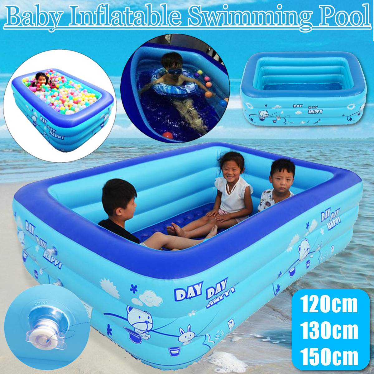 120/130/150cm Children Bathing Tub Baby Home Use Paddling Pool Inflatable Square Swimming Pool Kids Inflatable Pool Ocean Ball