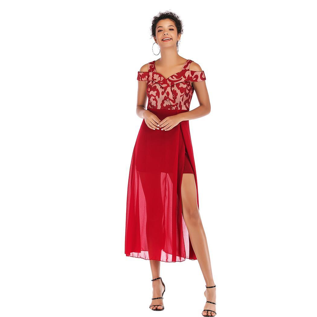 AL'OFA Women V-Neck   Cocktail     Dresses   Short Sleeve Off Shoulder Mesh Patchwork Homecoming   Dresses     Cocktail   Sexy Party Gowns