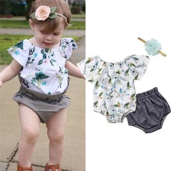 Sweet Cute Newborn Infant Girl Floral Romper+Ruffles Shorts+Headband Set New Baby Girl Clothes Summer Floral Bodysuit Shorts Set