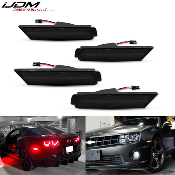 IJDM 12V bursztynowe/czerwone pełne boczne światła sygnalizacyjne na lata 2010-2015 Chevy Camaro, (przód bursztynowy, tył czerwony) zasilane łącznie 96 diodami LED SMD