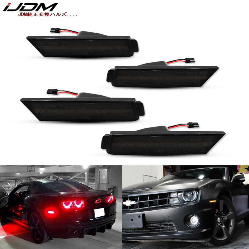 IJDM 12V Amber/Red Full Side Marker Lights For 2010-2015 Chevy Camaro, (Front: Amber, Rear: Red) Powered By Total Of 96 SMD LED