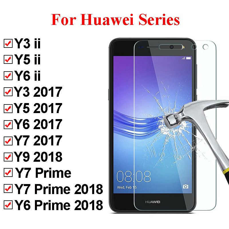 Protective Glass For Huawei Y6 Prime 2018 Y7 Y3 Y5 2017 Screen Protector For Hauwei Y6ii Y5ii Tempered Glass For Huawei Y9 2018