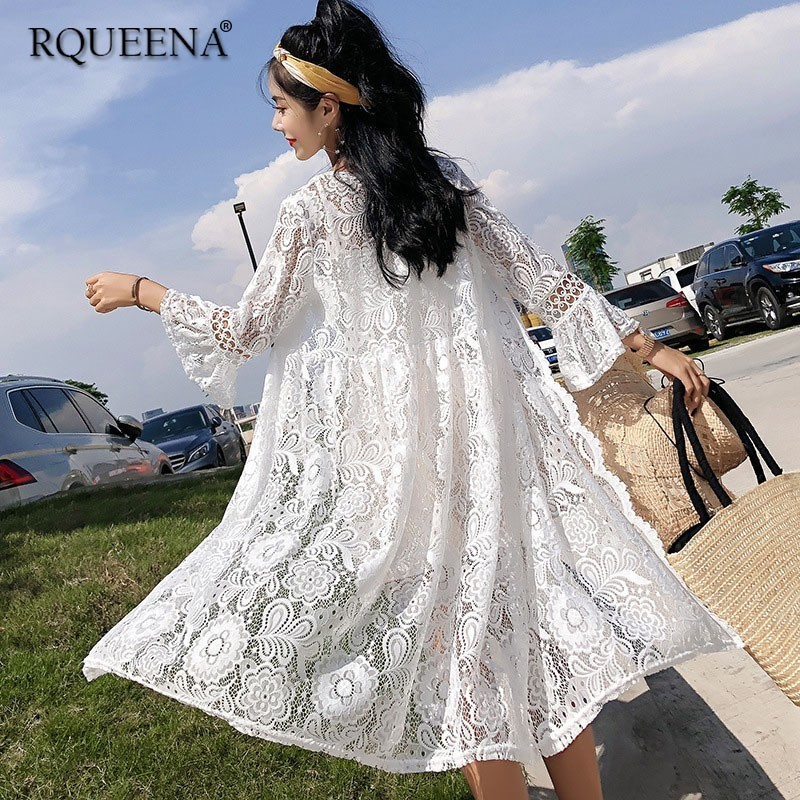 Latest Collection Of Forerun Long Kimono Jacket White Lace Shirt Transparent Summer Cardigan Swimsuit Women Flare Sleeve Long Mesh Tops High Quality Materials Blouses & Shirts