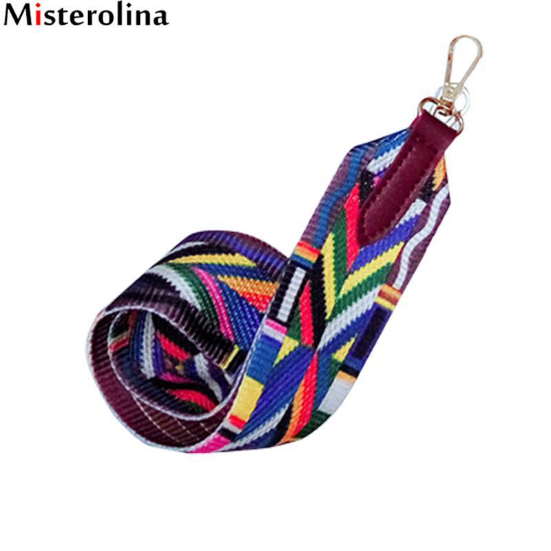 Misterolina Handles For Handbags Strap Shoulder Rainbow Color Handbag Belt Cross Body Messenger Bag Belt Strap 75*5 Cm H00061