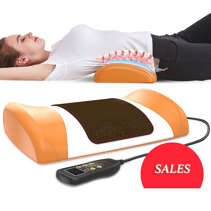 Multifunctional Electric Lumbar Correction Massager Car Back Waist Pillow Intervertebral Massage Vibrator Pad Cushion Devices