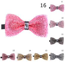 Shining Bow Tie Crystal Bling Butterfly Knot Blazer Diamond Men Wedding Party Bridegroom Bowtie Suits 18colors
