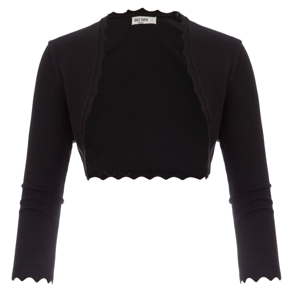 GK Black/ Ivory Women's 3/4 Sleeve Open Front bolero shrug office work wear party slim Copped tops Scalloped Knitted jacket coat