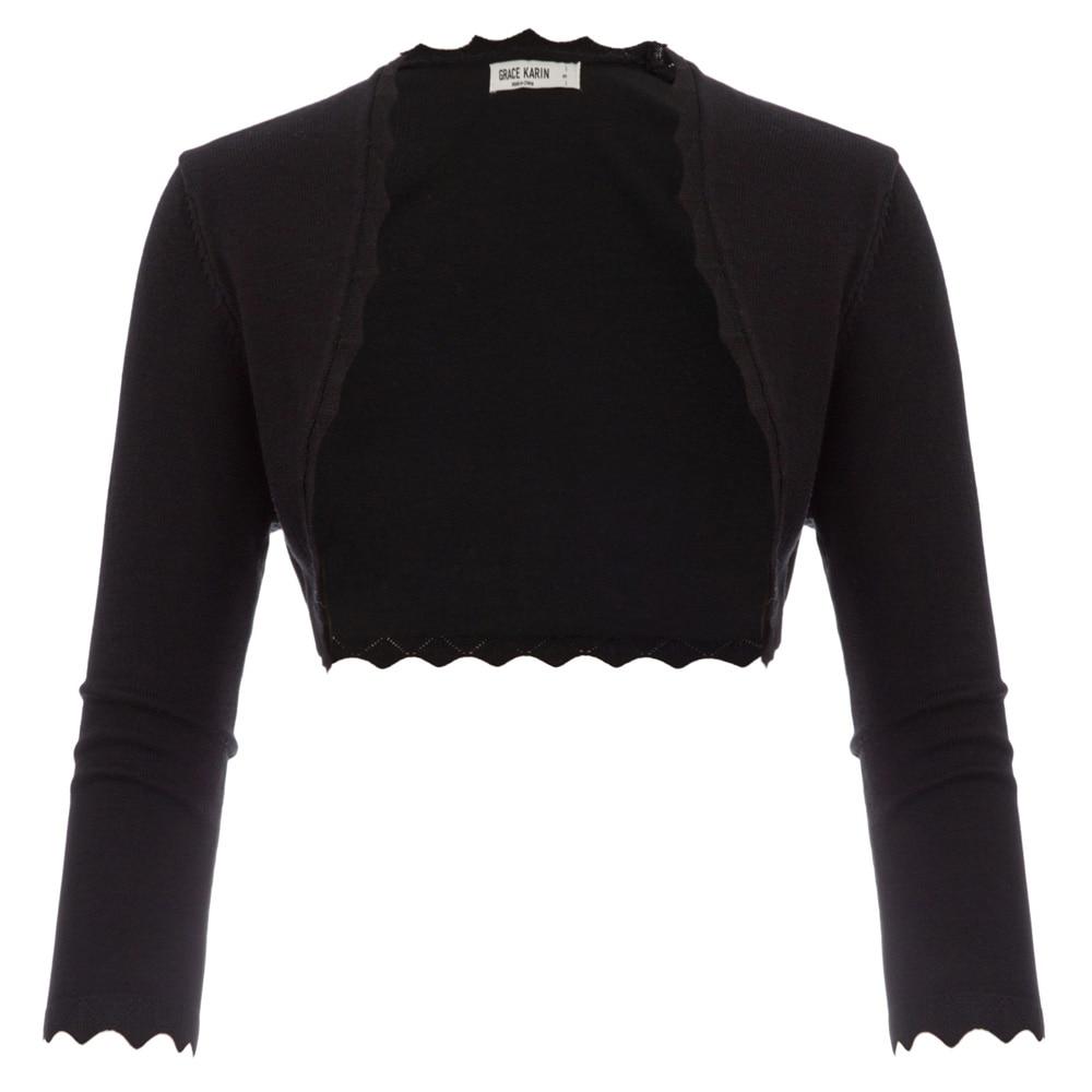 GK Black/ Ivory Women's 3/4 Sleeve Open Front Bolero Shrug Office Work Wear Party Slim Copped Tops Scalloped Knitted Jacket Coat