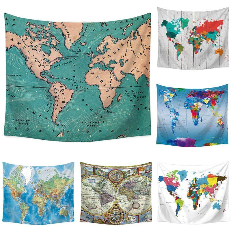 110*130cm World Map Explorer Wall Cloth Tapestry Polyester Hanging on