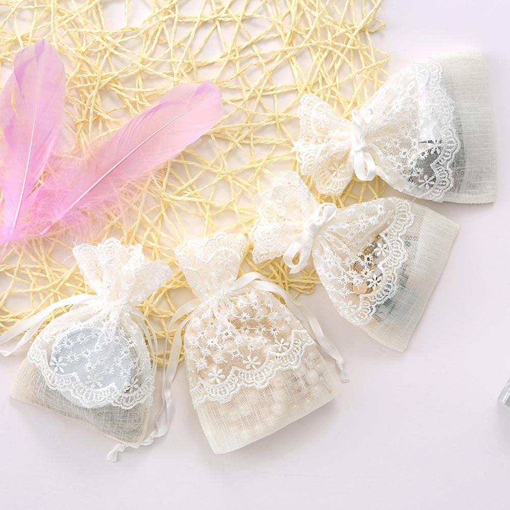 5/10PCS White Organza Bags Organza Drawstring Bags Organza Drawstring Pouches Candy Jewelry Party Wedding Favor Gift Bags