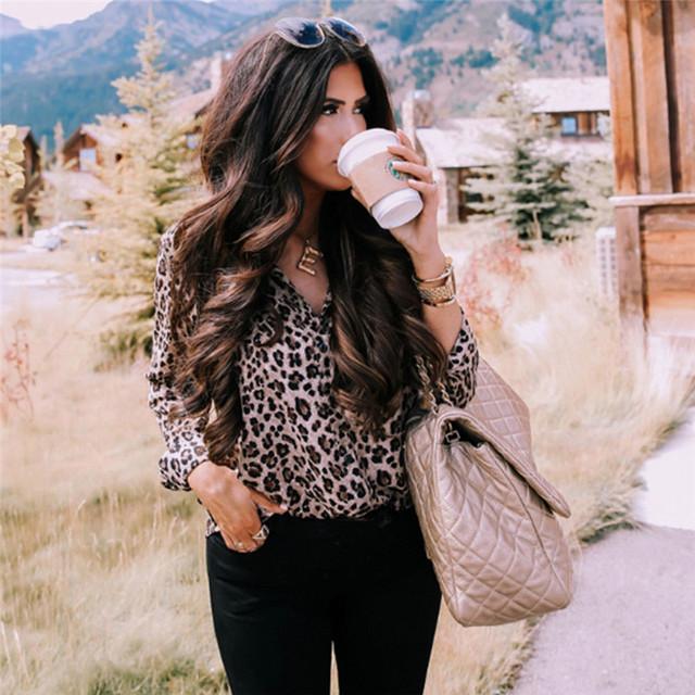 Long Sleeve Leopard Blouse V neck Shirt Ladies OL Party Top Dames Streetwear