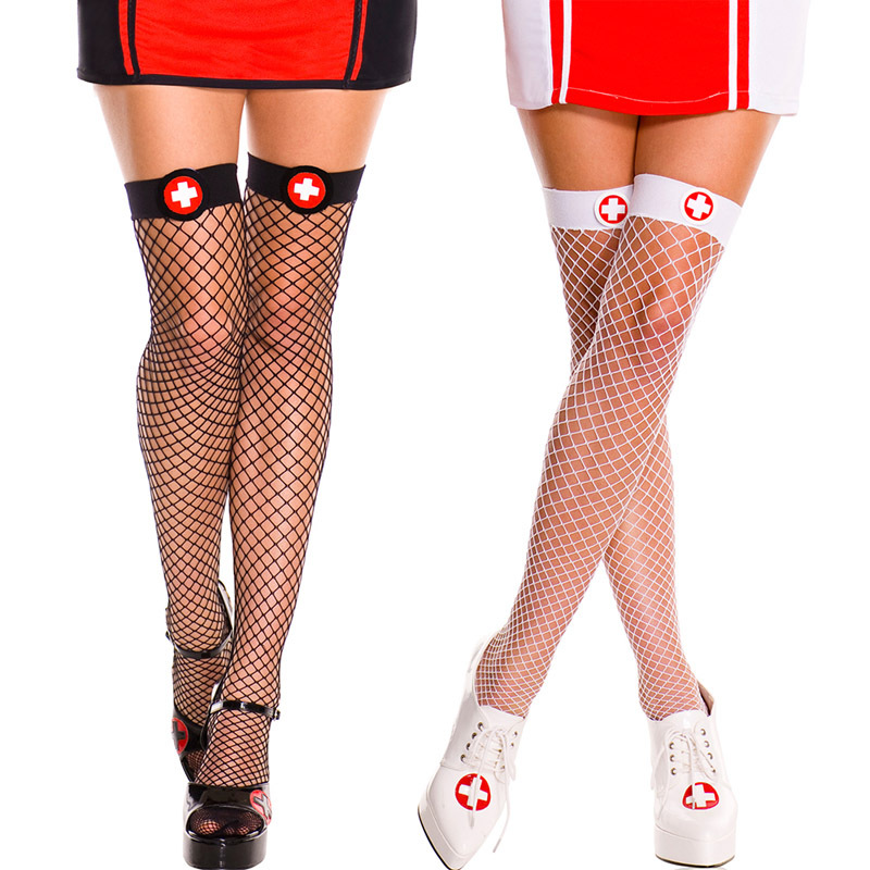 Nurse Outfit Stockings Red Bow Decorations Betterfly Fishnet Charming Stocking Hosiery Women Sexy Ladies