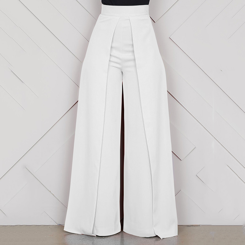 Ladies Baggy High Waist Wide Leg Pants White Black 2019 Summer Long Zipper Casual Office Loose Trousers Women pantalon femme