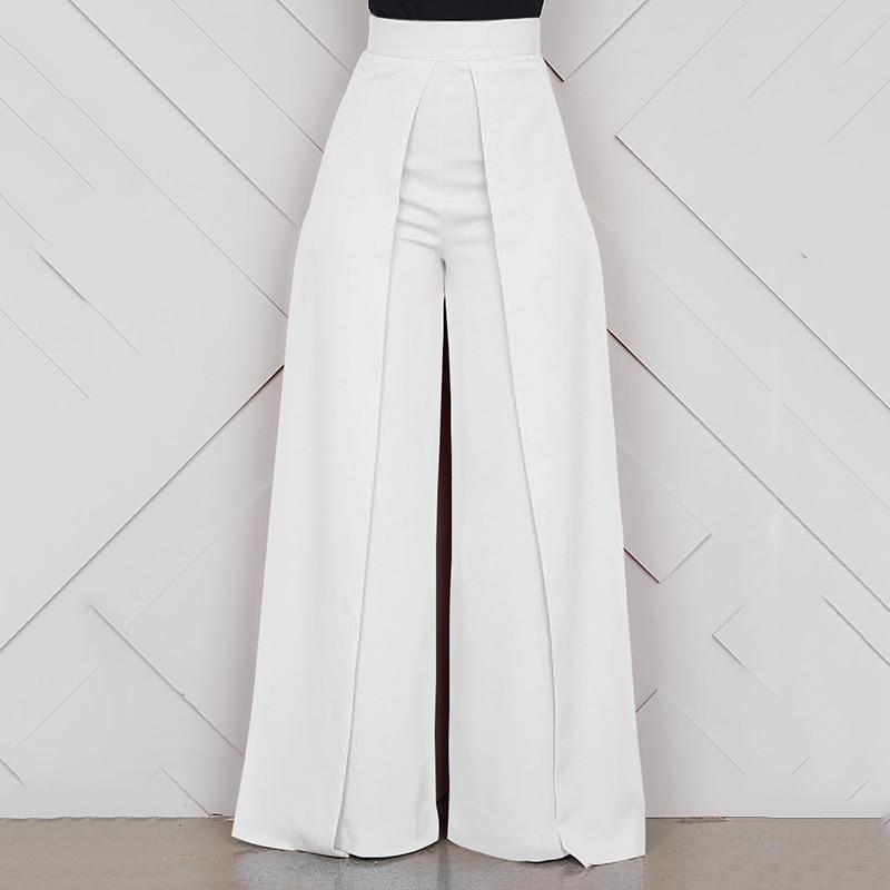 Ladies Baggy High Waist   Wide     Leg     Pants   White Black 2019 Summer Long Zipper Casual Office Loose Trousers Women pantalon femme