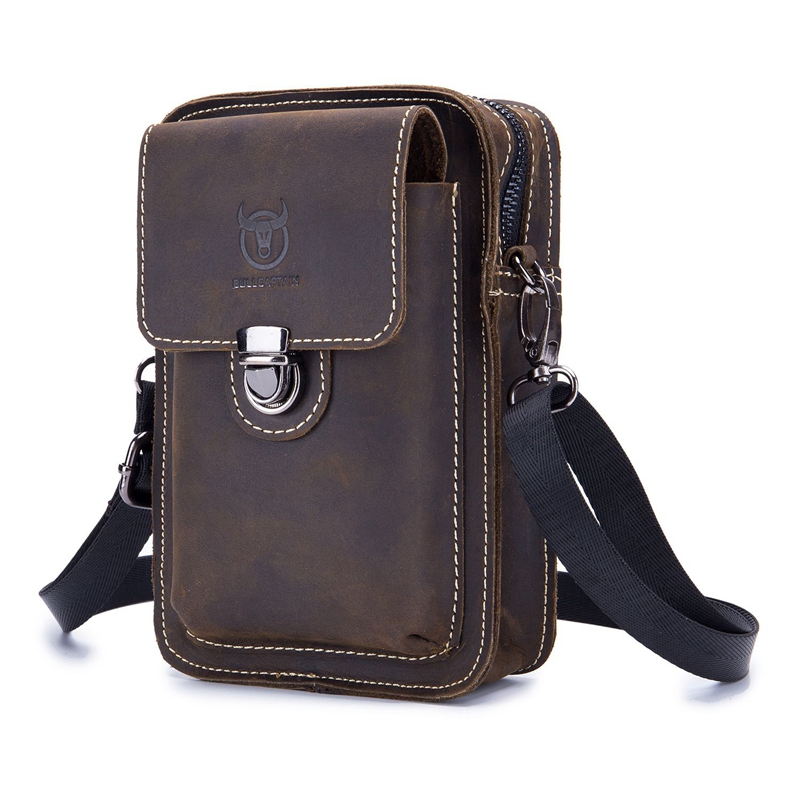 BULLCAPTAIN Men Bag Messenger-Bag Waist-Bag Small Vintage Genuine-Leather Casual Man